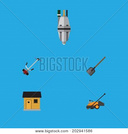 Flat Icon Garden Set Of Lawn Mower, Shovel, Grass-Cutter And Other Vector Objects