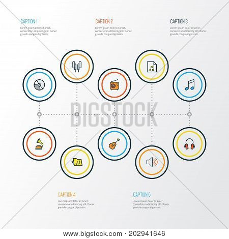 Multimedia Colorful Outline Icons Set. Collection Of Earphones, Strings, Gramophone And Other Elements