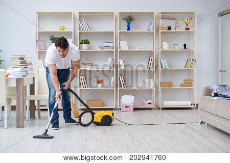 Man doing cleaning at home
