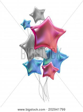 Group of Colour Glossy Helium Balloons Isolated on White Background. Vector Illustration EPS10
