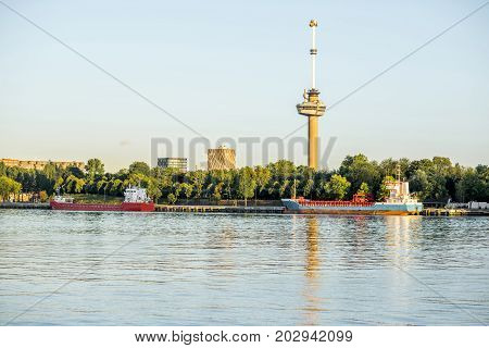 Riverside view with Euromast tower during the morning in Rotterdam city