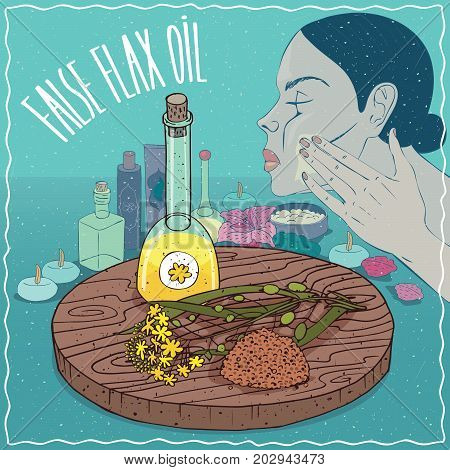 Glass Decanter of False flax oil and Camelina sativa plant. Girl applying facial mask on face. Natural vegetable oil used for skin care