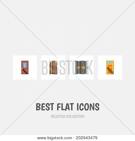 Flat Icon Approach Set Of Exit, Door, Lobby And Other Vector Objects