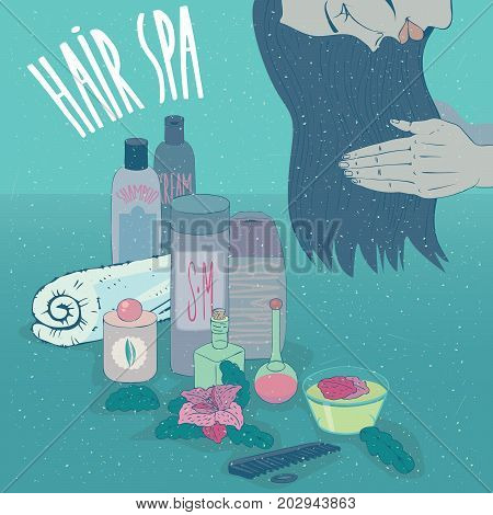 Head of beautiful girl in profile which applying on long hair conditioner or shampoo for hair care. Nearby small containers jars and bottles. Lettering Hair Spa