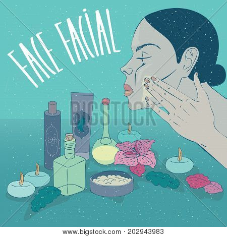 Head of beautiful girl in profile which puts on face moisturizing cream or mask for skin care. Nearby small containers such as jars and bottles. Lettering Face Facial