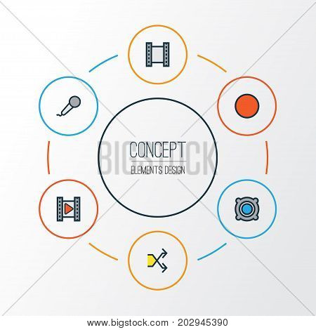 Music Colorful Outline Icons Set. Collection Of Randomize, Film, Movie Elements
