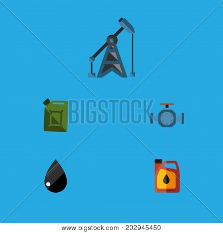 Flat Icon Oil Set Of Jerrycan, Flange, Droplet And Other Vector Objects