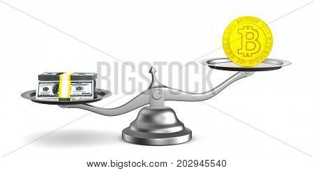 bitcoin and money on scale. Isolated 3D illustration