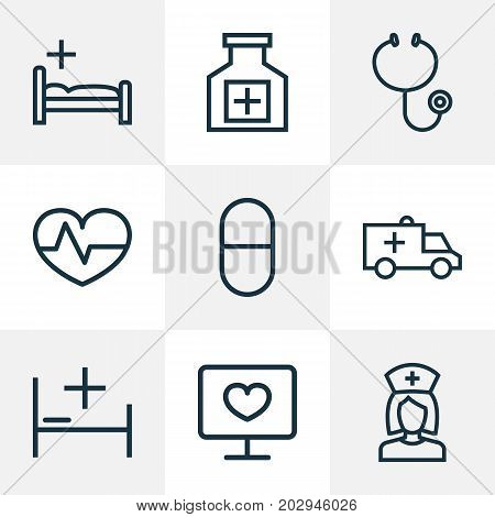 Medicine Outline Icons Set. Collection Of Pills, Pulse, Nurse And Other Elements