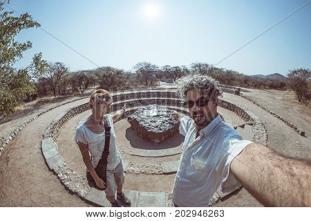 Hoba Meteorite View Point, Namibia, Africa. The Meteorite Is Composed By High Density Heavy Metals,