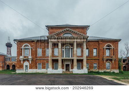Abandoned former Nechaev's mansion in Polibino village in Lipetsk region and Shukhov's hyperboloid