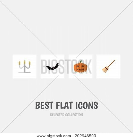 Flat Icon Festival Set Of Gourd, Superstition, Candlestick Vector Objects