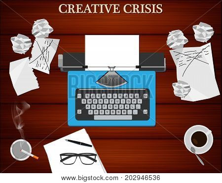 Creative crisis concept. Top view of writer's workplace - typewriter cup of coffee and cigarette. Wooden table background.