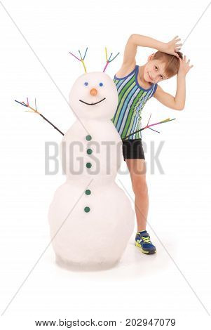 Cute boyl with snowman on white background