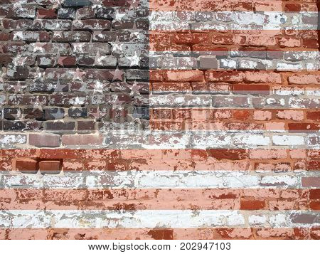 photo manipulation of an antique brickwall showcasing its weathered and appearance and texture with the USA flag overlayed