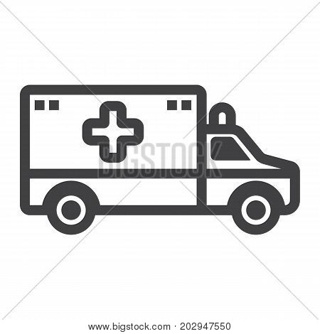 Ambulance line icon, medicine and healthcare, transport sign vector graphics, a linear pattern on a white background, eps 10.