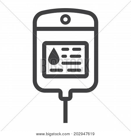 Iv bag line icon, medicine and healthcare, drop counter sign vector graphics, a linear pattern on a white background, eps 10.