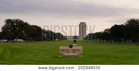 Morning comes to the State Capital grounds at Bismarck North Dakota