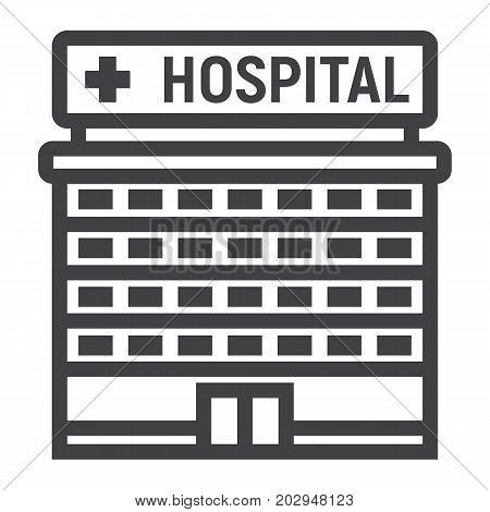 Hospital building line icon, medicine and healthcare, architecture sign vector graphics, a linear pattern on a white background, eps 10.