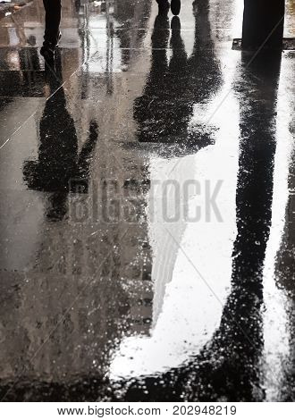 Rain And Reflections In New York City