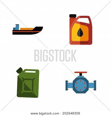 Flat Icon Petrol Set Of Boat, Fuel Canister, Flange And Other Vector Objects