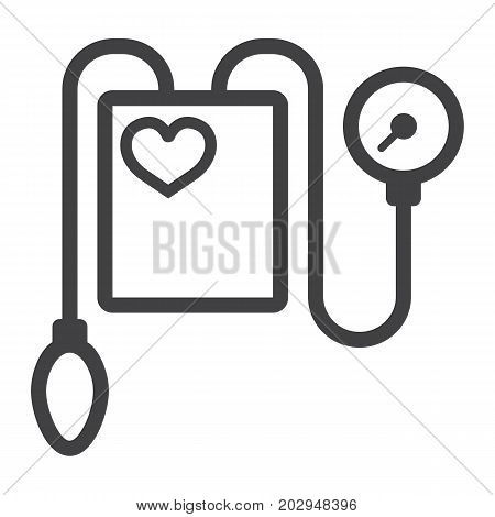 Tonometer line icon, medicine and healthcare, Blood Pressure sign vector graphics, a linear pattern on a white background, eps 10.
