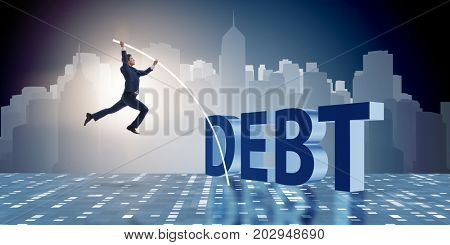 Businessman avoiding debt burden in business concept