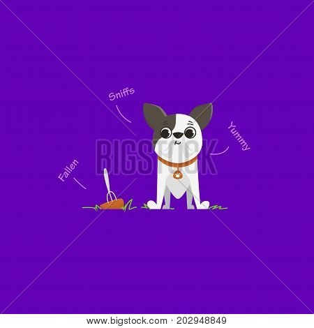 Illustration of a cartoon French Bulldog. Lovely dog. Vector illustration in cartoony style for your progect.