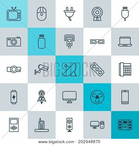 Device Icons Set. Collection Of Player, Spectacles, Antenna And Other Elements