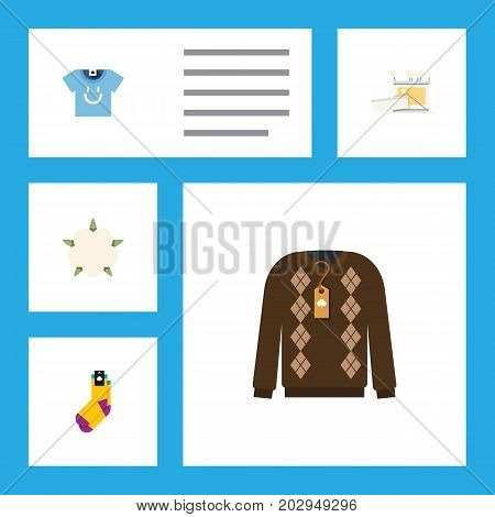 Flat Icon Cotton Set Of Blouse, Hosiery, Bud And Other Vector Objects
