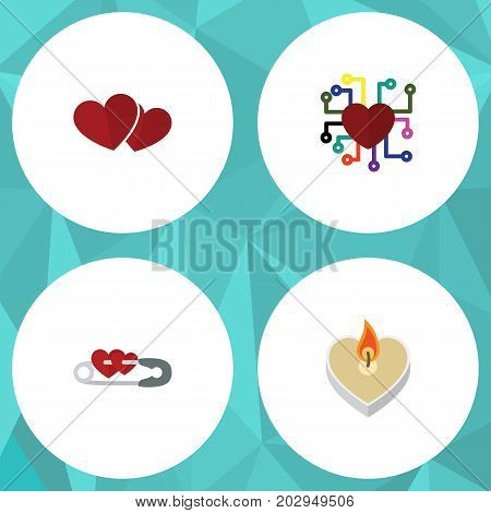 Flat Icon Amour Set Of Soul, Fire Wax, Emotion And Other Vector Objects