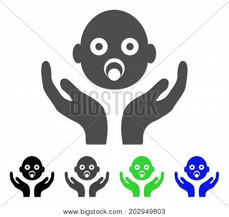 Baby Care Hands icon. Vector illustration style is a flat iconic baby care hands symbol with black, gray, green, blue color versions. Designed for web and software interfaces. poster