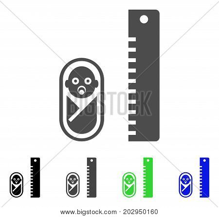 Baby Height icon. Vector illustration style is a flat iconic baby height symbol with black, gray, green, blue color versions. Designed for web and software interfaces.