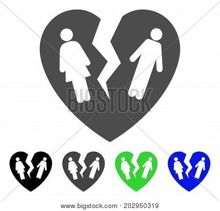 Broken Family Heart icon. Vector illustration style is a flat iconic broken family heart symbol with black, grey, green, blue color versions. Designed for web and software interfaces.