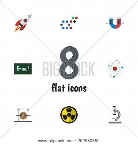 Flat Icon Study Set Of Electrical Engine, Spaceship, Theory Of Relativity And Other Vector Objects