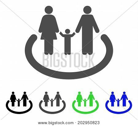 Family Area icon. Vector illustration style is a flat iconic family area symbol with black, grey, green, blue color variants. Designed for web and software interfaces.