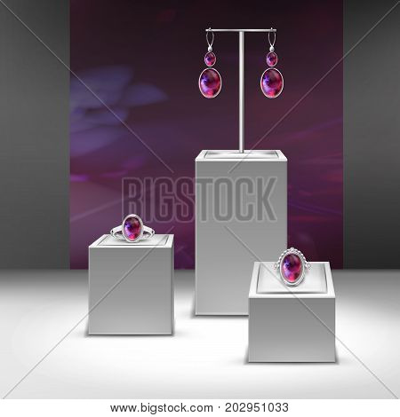 Vector illustration of collection jewelry with red gems in display, close-up isolated on background