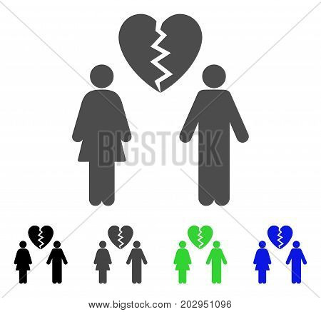 Family Divorce icon. Vector illustration style is a flat iconic family divorce symbol with black, grey, green, blue color variants. Designed for web and software interfaces.