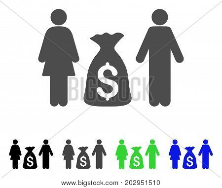 Family Money Deposit icon. Vector illustration style is a flat iconic family money deposit symbol with black, grey, green, blue color variants. Designed for web and software interfaces.