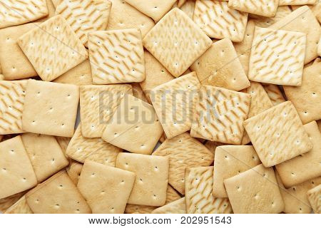 lots of crackers appetizing background. square crackers scattered