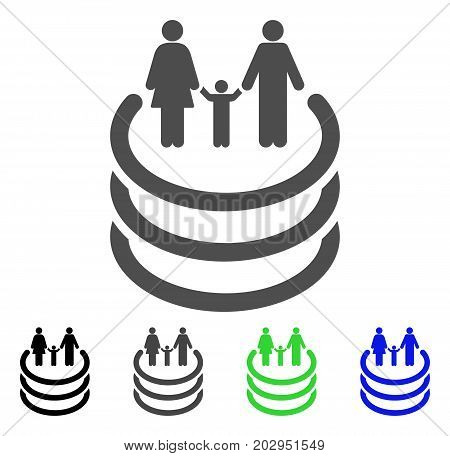 Family Portal icon. Vector illustration style is a flat iconic family portal symbol with black, gray, green, blue color variants. Designed for web and software interfaces.