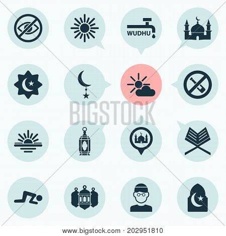 Ramadan Icons Set. Collection Of No Alcohol, Place, Midday And Other Elements