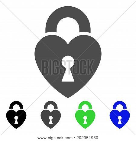 Heart Lock icon. Vector illustration style is a flat iconic heart lock symbol with black, grey, green, blue color variants. Designed for web and software interfaces.