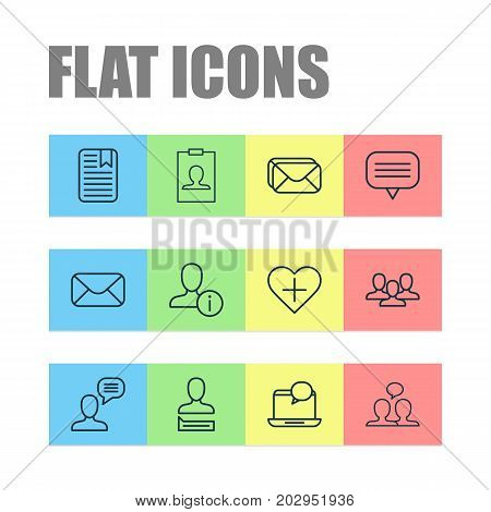 Social Icons Set. Collection Of Note Page, Mailbox, Mail And Other Elements