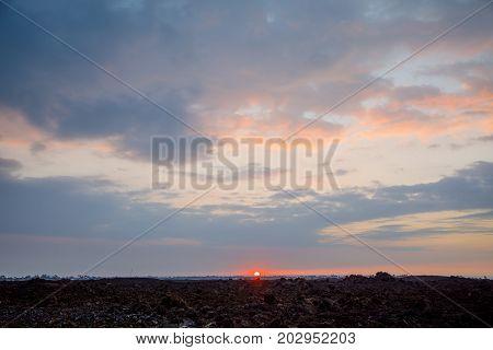 Beautiful sunset over lava rocks, Big Island, Hawaii