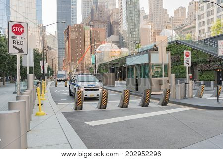Anti-terror Barriers On The World Trade Center Area