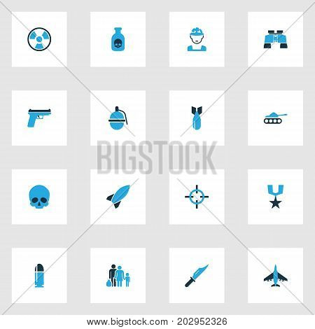 Battle Colorful Icons Set. Collection Of Rocket, Aim, Bio Hazard And Other Elements