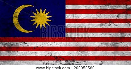 Flag of the Malaysia against the background of the stone texture