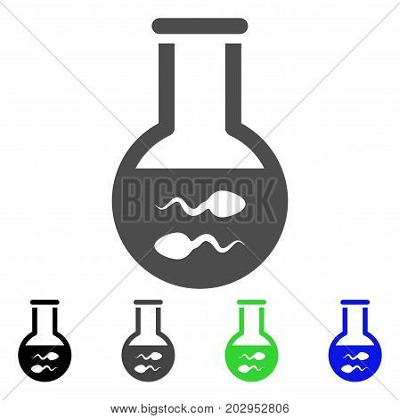 Sperm Flask icon. Vector illustration style is a flat iconic sperm flask symbol with black, gray, green, blue color variants. Designed for web and software interfaces.