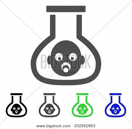 Test Tube Baby icon. Vector illustration style is a flat iconic test tube baby symbol with black, gray, green, blue color variants. Designed for web and software interfaces.